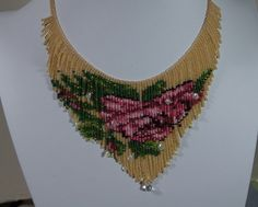 Beadwork Rose Necklace Beadweaving Fringe by Trendydeals on Etsy