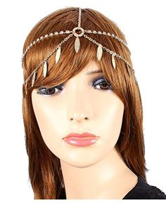 Head Jewelry  Crystal and Leaves Goldtone Head Chain Headband JH1019GDC -- Details can be found by clicking on the image.(This is an Amazon affiliate link)