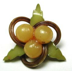 "Vintage Celluloid Button Realistic Berries & Leaf Design 13/16""  Weeber?"