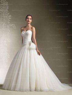 Ballgown Sweetheart Sweep Train Tulle White Wedding Dress With Rhinestone