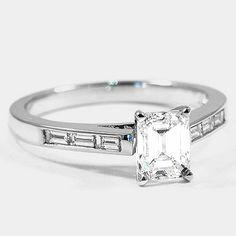 18K White Gold Meridian Diamond Ring // Set with a 1.06 Carat, Emerald, Very Good Cut, H Color, VS1 Clarity Diamond #BrilliantEarth