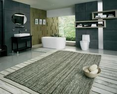 Grey Laminate Floor With Best Textured Extra Large Bath Rugs For Modern Bathroom Ideas With Elegant Charcoal Grey Wall, Dark Green Bath Rug, Chevron Bath Rug Large Bathroom Rugs, Large Bathrooms, Bath Rugs, Modern Bathroom, Bathroom Ideas, Bathroom Designs, White Bathroom, Bathroom Carpet, Bathroom Flooring