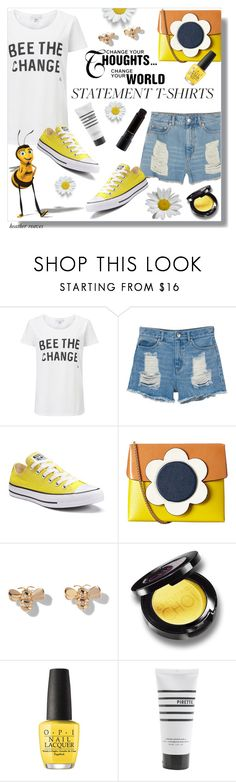 """""""Say What: Statement T-Shirts"""" by heather-reaves ❤ liked on Polyvore featuring Monki, Converse, Orla Kiely, Mimi So, WALL, OPI, Pirette, MAC Cosmetics and statementtshirt"""