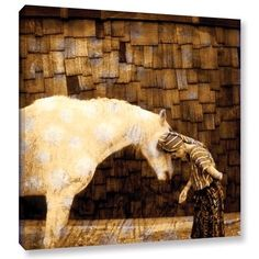'Horse Whisperer' Gallery Wrapped Canvas Art Print, 36x36, Brown #quotesonwisdom
