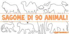 Sagome di 90 animali da stampare gratis, colorare e ritagliare