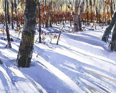 Shari Blaukopf, My Woods, Watercolor Images, Watercolor Trees, Watercolor Artwork, Watercolor Sketch, Watercolor Artists, Watercolor Landscape, Landscape Art, Landscape Paintings, Winter Scenery