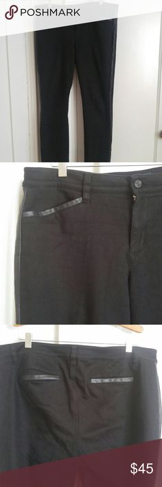 Ralph Lauren tuxedo pants with leather trim RL black tuxedo pants. Leather trim on pockets and down legs. Mid rise straight leg fit. Ralph Lauren Pants Straight Leg