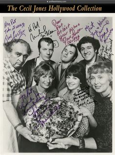 [Laverne & Shirley] Cast signed production photograph. (ABC, 1976-1983) Gelatin silver 8 x 10 in. production photograph inscribed and signed in multi-color ink in the borders of the image by Penny Marshall, Cindy Williams, Betty Garrett, Eddie Mekka, Phil Foster, David Lander, and Michael McKean.