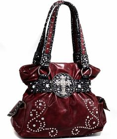 Western RED Purse Rhinestone CROSS Handbag Studded Metallic Croco Shoulder Bag