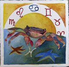 Baltic Sea crab as Zodiac cancer © #watercolor by Frank Koebsch; 21 x 21 cm, $270; More information about the Zodiac can be found at http://frankkoebsch.wordpress.com/2011/11/20/sternzeichen-ostseekrabbe-aquarell-von-frank-koebsch/