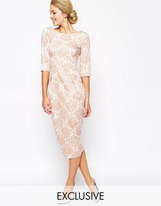 Image 1 ofCloset Midi Pencil Dress In Wallpaper Floral Print
