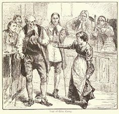 """""""The Trial Of Giles Corey"""" Illustration by Charles Reinhardt, circa 1878. #salemwitchtrials #salemmassachusetts #ushistory"""