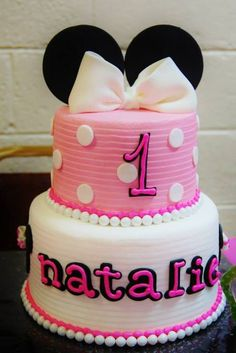 Stunning Minnie Mouse cake!  See more party ideas at CatchMyParty.com!