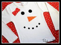 Love the bow- snowman appliqué!