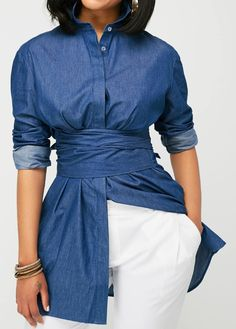 Curved Navy Blue Button Up Blouse.