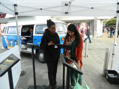 Visitors trying out our #CareerMOT app on Castle Street in Edinburgh. Pinned from Pitman Training Flickr