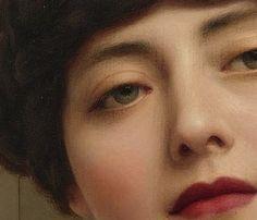 Details of John William Godward's: Eurypyle (1921) + lipstick edit - Contemplation (1903)