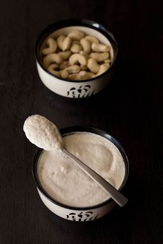 how to make cashew yoghurt or cashew curd with step by step pics. cashew yogurt is made from cashews. there are 3 ways of making cashew yoghurt. Yogurt Recipes, Milk Recipes, Veg Recipes, Indian Food Recipes, Real Food Recipes, Healthy Recipes, Recipies, Cashew Yogurt, Cashew Milk