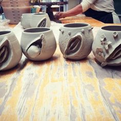 Work in progress Ceramic Cups, Ceramic Pottery, Delivery Nurse Gifts, Midwife Gift, Pregnancy Art, Clay Art Projects, Concrete Pots, Cup Art, Succulent Gardening