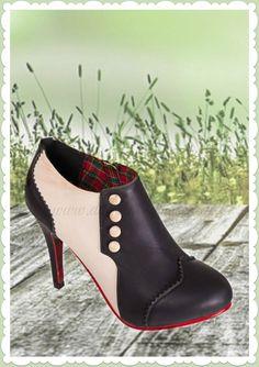 Banned 50er Jahre Vintage Schuhe Ankle Boots Stiefel -Jayne- Schwarz Beige