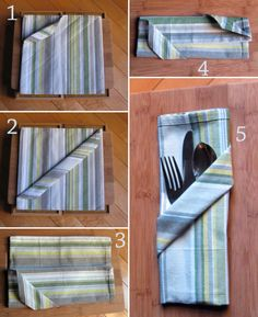 How to Fold a Napkin into a Diagonal Pocket for the Silverware #tutorial