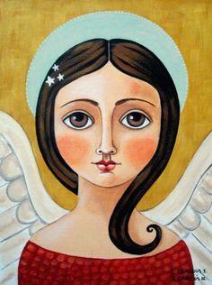 "Original Folk Art ""Angel with Stars"" Acrylics on A 9"" x 12"" Canvas Panel | eBay"