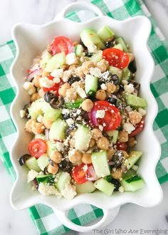 Greek Garbanzo Bean Salad is so flavorful! Easy to make too.
