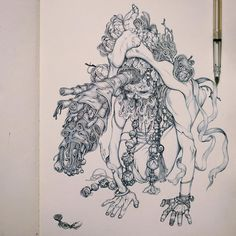 """Artist:James Jean """"Two rights don't make a wrong. The path to righteousness dare not be trampled by the devil's foot."""""""