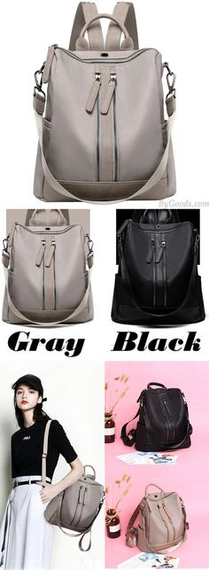 British Style Waterproof Double Zipper Multi-function Handbag Large School Girl's PU Backpack for big sale! #backpack #school #college #large #Handbag #bag
