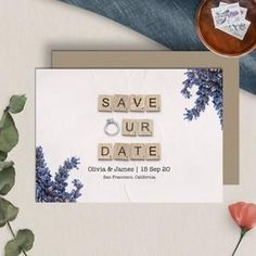 Save Our Date  Save The Date Cards  Instant Download  image 1 65th Birthday Cards, Happy Birthday Printable, Mom Birthday, Announcement Cards, Wedding Announcements, Scrabble Wedding, Scrabble Tile Art, Family Name Signs, Printable Cards
