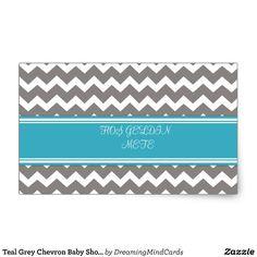 Teal Grey Chevron Baby Shower Favor Stickers | Zazzle