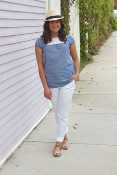 straw fedora, crochet + chambray top, white pants, sparkly sandals