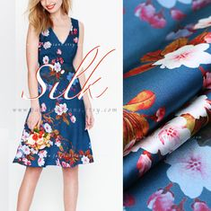 Items similar to blue silk satin cherry blossom fabric by the yard on Etsy Blue Cherry, Blue Fabric, Blue Fashion, Silk Satin, Sewing Hacks, Cherry Blossom, Blue Dresses, Yard, Handmade