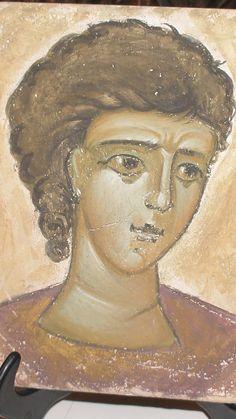 Portrait of a young byzantine, 2007.  Fresco, 15x15.  Artist Aggeliki Papadomanolaki. Agiografia.tumblr.com Orthodox Icons, I Icon, Christian Art, Byzantine, Fresco, Watercolour, Mona Lisa, Saints, Angels
