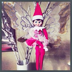 Elf on the shelf with butterfly wings