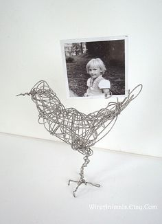 Wire bird photo holder (yes, that is me, circa 1973 or so)