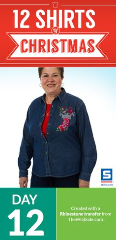 Create a festive shirt for your customers with stock rhinestone transfers and a #heatpress. blog.stahls.com