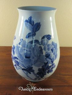 Large Chinese? Blue and White Porcelain Calligraphy Vase with Flowers Unsigned #Unknown