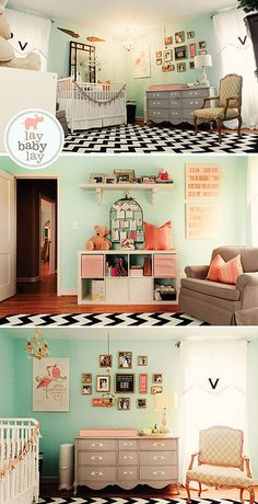 I think we have a #win for baby Bridget's nursery. (minus the black chevron rug). LOVE the peachy-pink and the light teal.