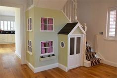 Amazing Playroom Under Stairs For Cute Kids 06 Under Stairs Playhouse, Build A Playhouse, Indoor Swing, Wendy House, Play Houses, Home Goods, Kids Room, New Homes, House Design