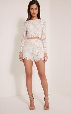 Ellena White Lace Long Sleeve Crop Top Image 5