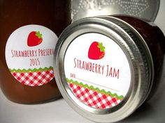 Gingham Strawberry Canning jar labels, round red stickers for mason jars, fruit preservation, jam and jelly jars, preserves, cottage chic,  CanningCrafts, Etsy $4