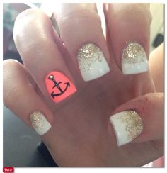 Anchor nails, vacation nails, design nails, gold glitter nails, unique french manicure