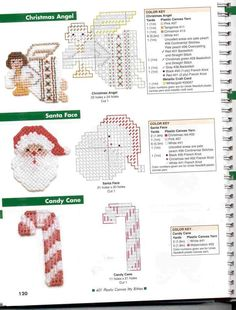 Itty Bitty Angel, Santa, and Candy Cane Plastic Canvas Ornaments, Plastic Canvas Crafts, Plastic Canvas Stitches, Plastic Canvas Patterns, Needlepoint Patterns, Cross Stitch Patterns, Plastic Canvas Christmas, Candy Cane, Cross Stitching