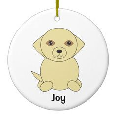 Cute Yellow Golden Retriever Dog Personalize Ceramic Ornament - dog puppy dogs doggy pup hound love pet best friend