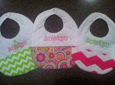 Personalized Handmade Bibs for Girlsset of 3 by SooieStitches,
