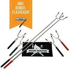 Marshmallow Roasting Sticks  A Must for Any Camping Kitchen and Roasting Marshmallows or Hot Dogs  Telescoping  Set of 6 with Carrying Bag  Bonus Mini LED Flashlight  Campfires Made Fun *** Check out the image by visiting the link. (This is an Amazon affiliate link)