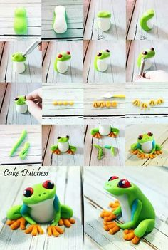 Tree Frog Tutorial by Cake Dutchess. Another fabulous picture tutorial!Green Tree Frog Tutorial by Cake Dutchess. Another fabulous picture tutorial! Polymer Clay Kunst, Polymer Clay Animals, Polymer Clay Projects, Polymer Clay Creations, Fimo Clay, Cake Dutchess, Frog Cakes, Cupcakes Decorados, Fondant Tutorial
