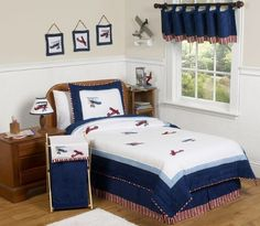 Sweet Jojo Designs Red, White and Blue Vintage Aviator Airplane Childrens and Kids 3 Piece Full/Queen Boys Bedding Set Kids Twin Bedding Sets, Twin Comforter Sets, Queen Bedding Sets, Boy Bedding, Blue Comforter, King Comforter, Cotton Bedding, Queen Size Quilt Sets, Childrens Beds