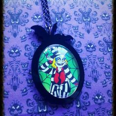 I love this piece I just whipped up! This is on a large setting. So much fun! Grab it now before it flies away! #beetlejuice #timburton #bat #goth #horrorjewelry #etsy #cartoon
